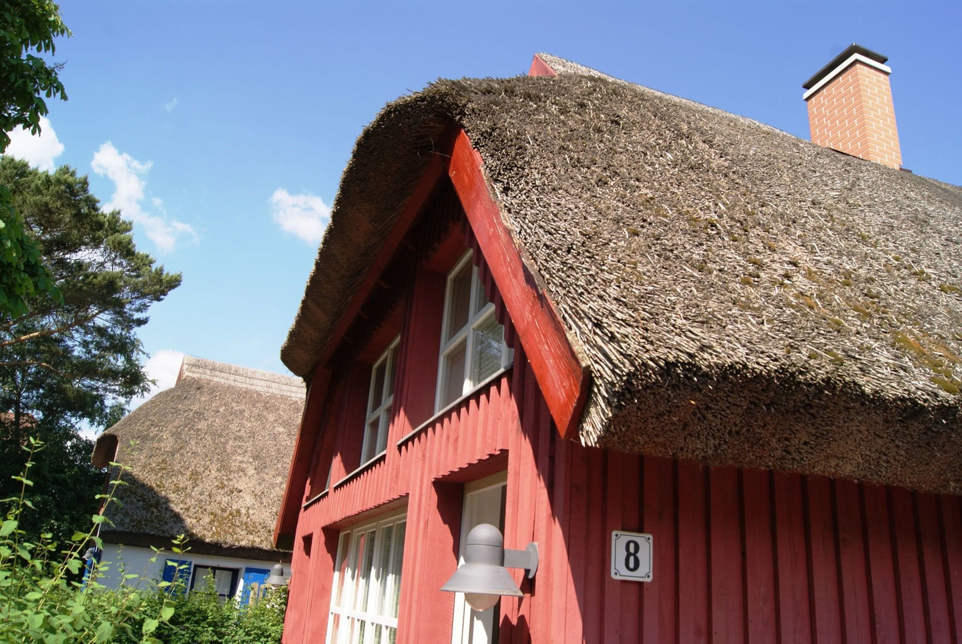 Thatched-roof houses and colorful doors